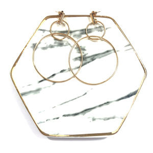 Gold Minimalist Simple Double Circle Drop Earrings
